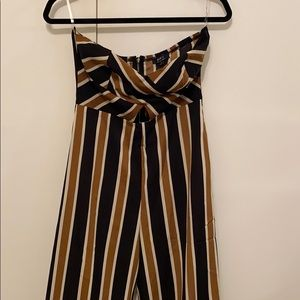 Patterned Strapless Jumpsuit